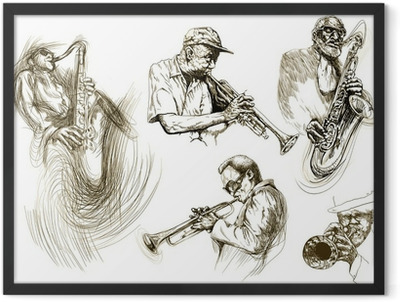 jazz men (hand drawing collection of sketches) Framed Poster