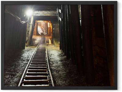 Mine railway in undergroud. Framed Poster