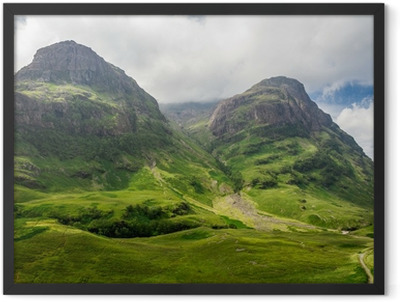 Mountain view in Scotland in the Glencoe Framed Poster