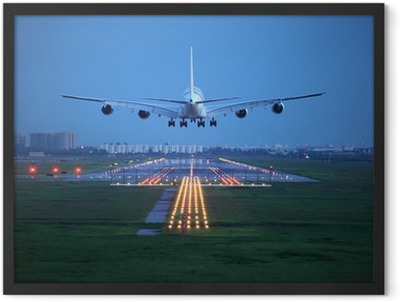 passenger plane fly up over take-off runway from airport Framed Poster