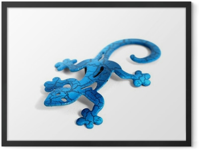Blue metal lizard Framed Poster
