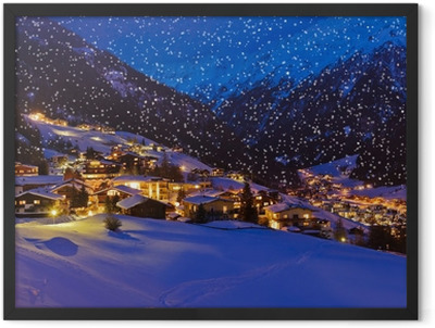 Mountains ski resort Solden Austria at sunset Framed Poster