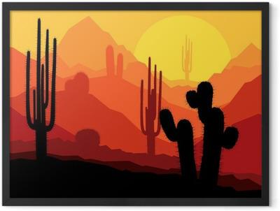Cactus plants in Mexico desert sunset vector Framed Poster