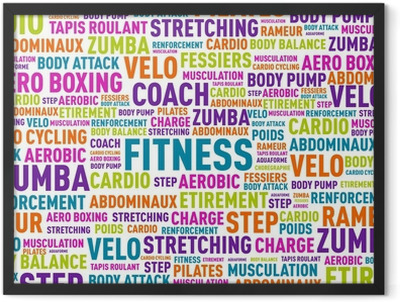 nuage de mots fitness Framed Poster
