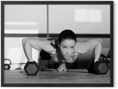 Gym woman push-up strength pushup with dumbbell Framed Poster