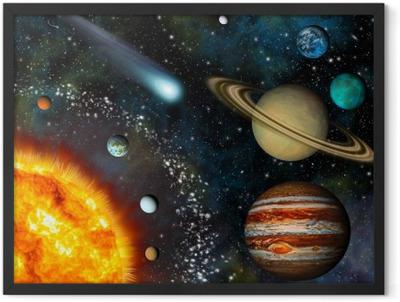 Realistic 3D Solar System Wallpaper Framed Poster