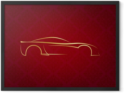 Abstract calligraphic car logo on red background Framed Poster