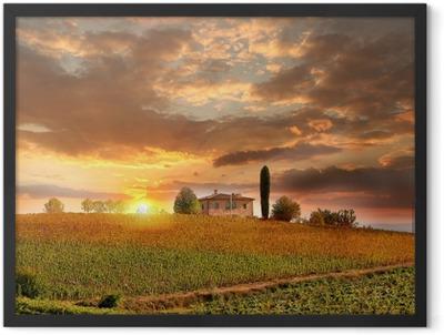 Chianti vineyard landscape in Tuscany, Italy Framed Poster