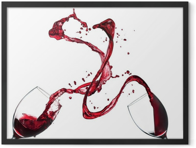 Concept of red wine splashing from glasses on white background Framed Poster