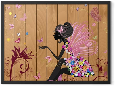 Flower Fairy on a wood texture for your design Framed Poster