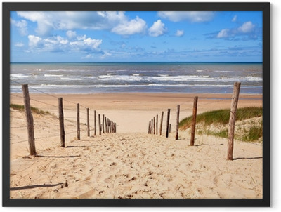 path to sandy beach by North sea Framed Poster