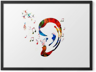 Abstract colorful ear vector Framed Poster