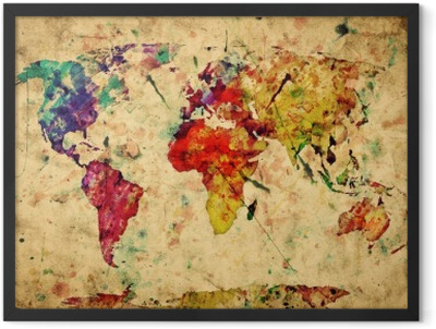 Vintage world map. Colorful paint, watercolor on grunge paper Framed Poster