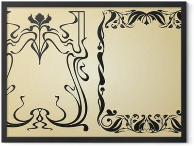 Art Nouveau design framework and elements Framed Poster