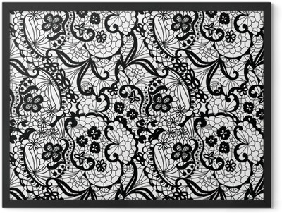 Lace black seamless pattern with flowers on white background Framed Poster