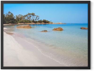 Paysage de Corse, plage à Ajaccio Framed Poster