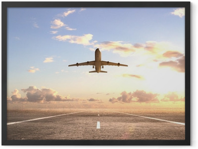 airplane on runway Framed Poster
