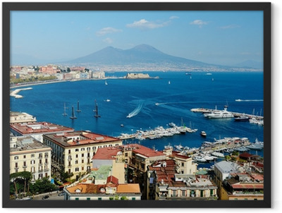 wonderful Naples panoramic view with Vesuvius Framed Poster