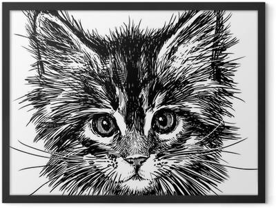 portrait of cat Framed Poster