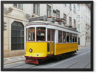 Old yellow Lisbon tram, Portugal Framed Poster