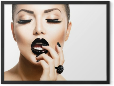 Vogue Style Fashion Girl with Trendy Caviar Black Manicure Framed Poster