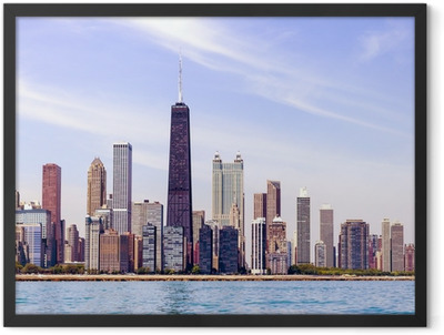 Chicago Skyline With Blue Clear Sky Framed Poster