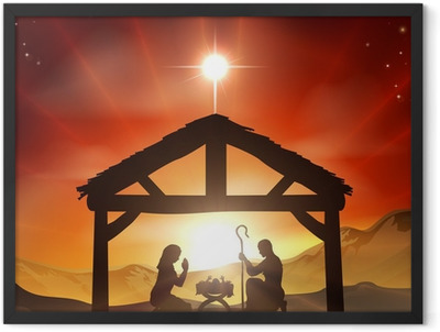 Nativity Christian Christmas Scene Framed Poster