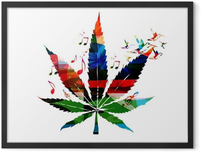 Colorful vector cannabis leaf with hummingbirds background Framed Poster