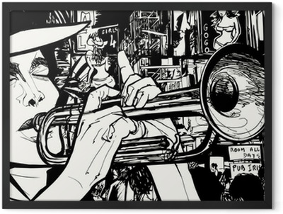 man playing trumpet in a red light district Framed Poster