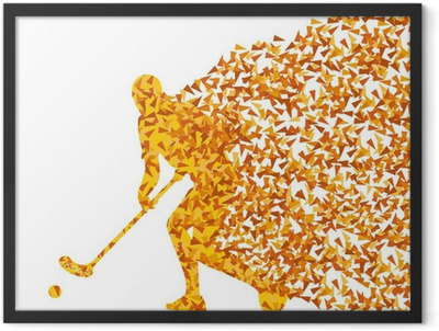 Floorball player vector silhouette made of triangle fragments ve Framed Poster