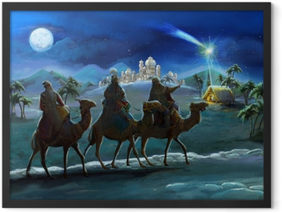 Illustration of the holy family and three kings Framed Poster