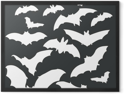vector white bats silhouettes on dark background Framed Poster