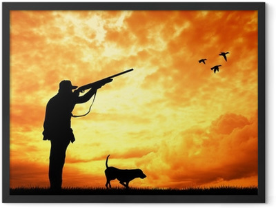 hunter at sunset Framed Poster