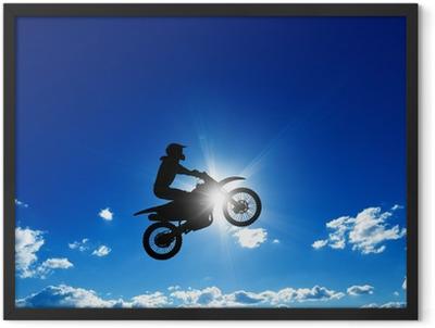 Jumping motorcycle rider Framed Poster