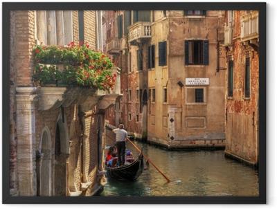 Venice, Italy. Gondola on a romantic canal. Framed Poster
