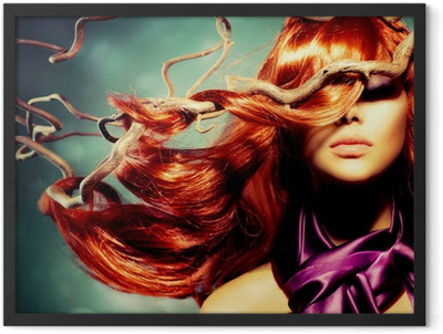 Fashion Model Woman Portrait with Long Curly Red Hair Framed Poster