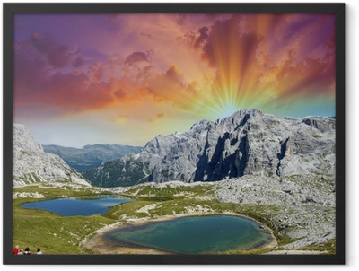 Beautiful lakes and peaks of Dolomites. Summer sunset over Alps Framed Poster