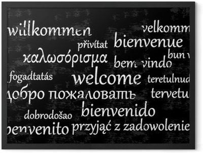 Welcome written in different languages on a chalkboard Framed Poster
