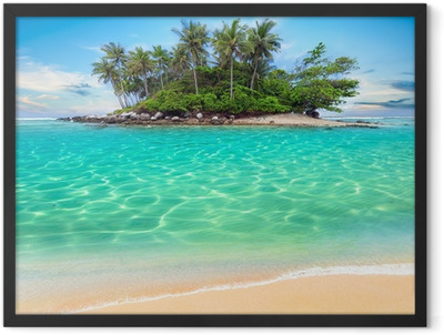 Tropical island and sand beach exotic travel background Framed Poster