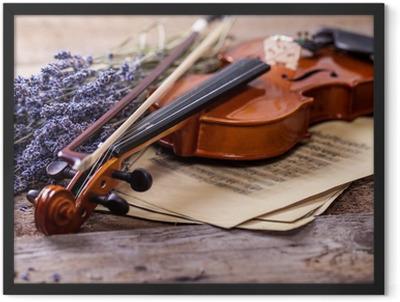 Vintage composition with violin and lavender Framed Poster