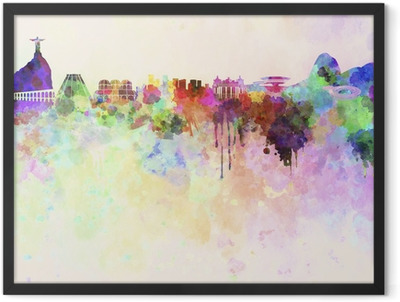 Rio de Janeiro skyline in watercolor background Framed Poster