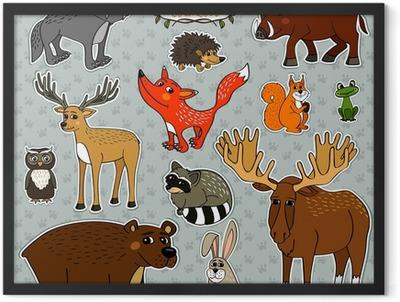 vector animals owl deer fox Framed Poster