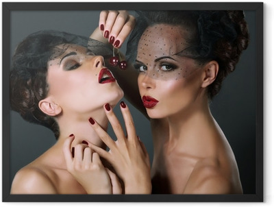 Dainty. Two Provocative Women with Cherry Berries. Temptation Framed Poster
