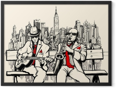 two jazz men playing in New York Framed Poster