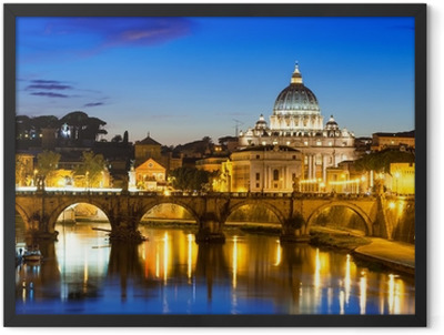 Night view of Basilica St Peter and river Tiber in Rome in Italy Framed Poster