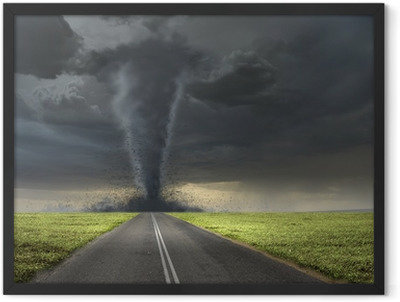 Tornado on road Framed Poster