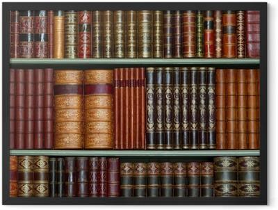 Old library of vintage hard cover books on shelves Framed Poster