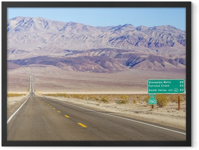 Death Valley landscape and road sign,California Framed Poster