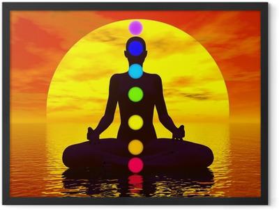 Chakras at sunset - 3D render Framed Poster