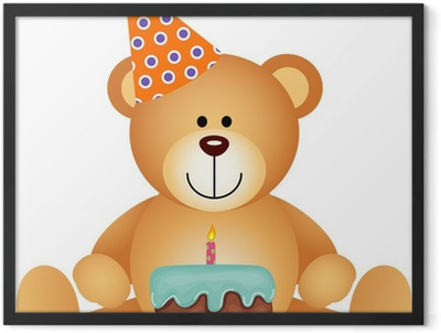 Teddy Bear with Birthday Cake Framed Poster
